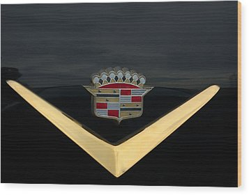 Cadillac Hood Emblem Wood Print by Tim McCullough