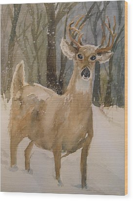 Wood Print featuring the painting Caedmon's Buck by Sandra Strohschein