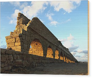 Wood Print featuring the photograph Caesarea  Aqueduct At Sunset. by Arik Baltinester