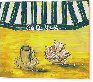 Cafe Au Lait And Beignets On Yellow Background Wood Print by Catherine Wilson