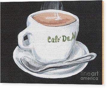 Cafe Au Lait Wood Print by Elaine Hodges