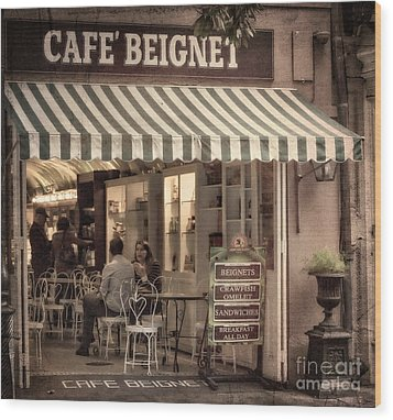Cafe Beignet 2 Wood Print by Jerry Fornarotto