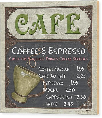 Cafe Chalkboard Wood Print by Debbie DeWitt