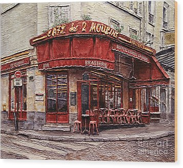 Cafe Des 2 Moulins- Paris Wood Print by Joey Agbayani