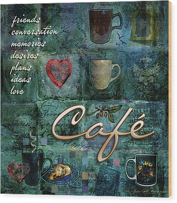 Cafe Wood Print by Evie Cook