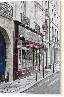 Cafe In Paris Wood Print by J Pruett