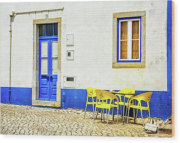 Wood Print featuring the photograph Cafe In Portugal by Marion McCristall