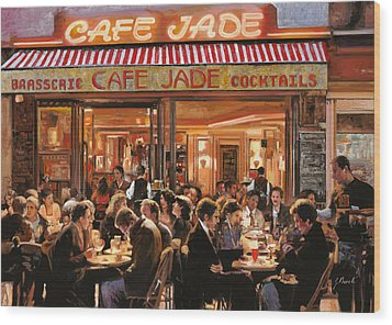 Cafe Jade Wood Print by Guido Borelli