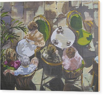 Wood Print featuring the painting Cafe by Julie Todd-Cundiff