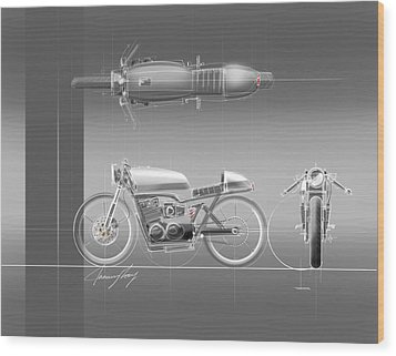 Cafe Racer Wood Print