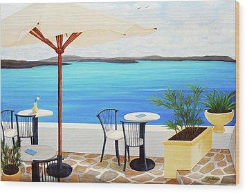 Cafe Santorini On The Rim  Wood Print