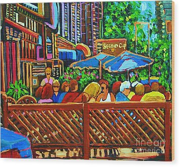 Wood Print featuring the painting Cafe Second Cup by Carole Spandau