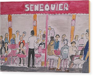 Cafe Senequier St Tropez 2012 Wood Print by Bill White