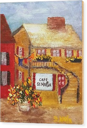 Cafe St.martin Wood Print by Annie St Martin