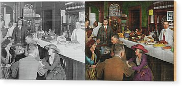 Wood Print featuring the photograph Cafe - Temptations 1915 - Side By Side by Mike Savad