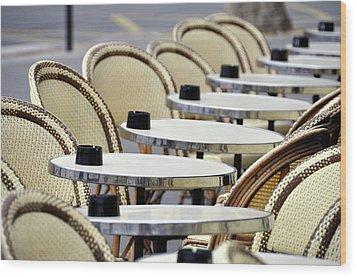 Cafe Terrace In Paris Wood Print