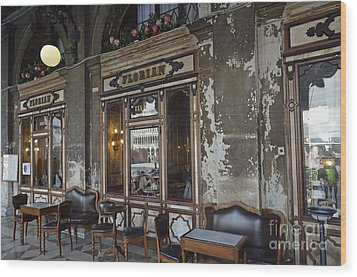 Cafe Terrace On Piazza San Marco Wood Print by Sami Sarkis