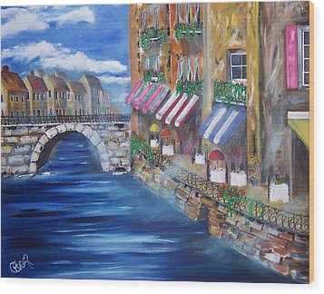 Cafe Walk Wood Print by Penny Everhart