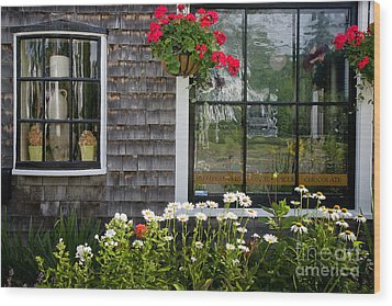 Cafe Windows Wood Print by Susan Cole Kelly