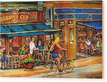 Cafes With Blue Awnings Wood Print by Carole Spandau