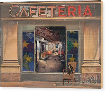 Wood Print featuring the painting Cafeteria by Mojo Mendiola
