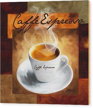 Caffe Espresso Wood Print by Lourry Legarde