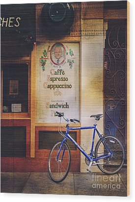 Caffe Expresso Bicycle Wood Print
