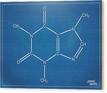 Caffeine Molecular Structure Blueprint Wood Print by Nikki Marie Smith