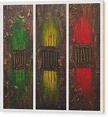 Wood Print featuring the painting Caged 2 by Patricia Lintner