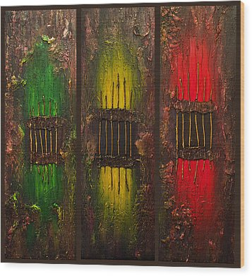 Wood Print featuring the painting Caged Abstract by Patricia Lintner
