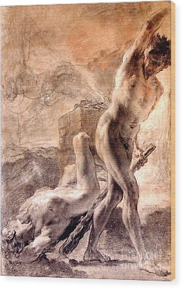 Wood Print featuring the painting Cain And Abel by Pg Reproductions