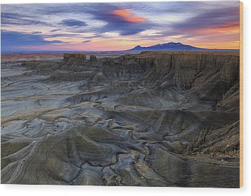 Wood Print featuring the photograph Cainville Badlands by Johnny Adolphson