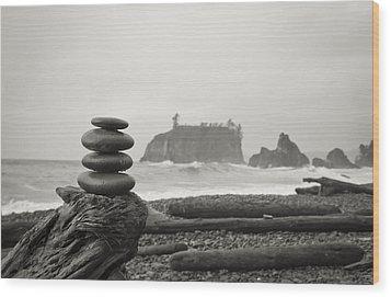 Cairn On A Beach Wood Print