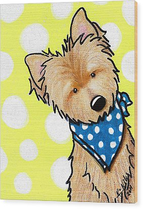 Cairn Terrier On Dotted Yellow Wood Print by Kim Niles