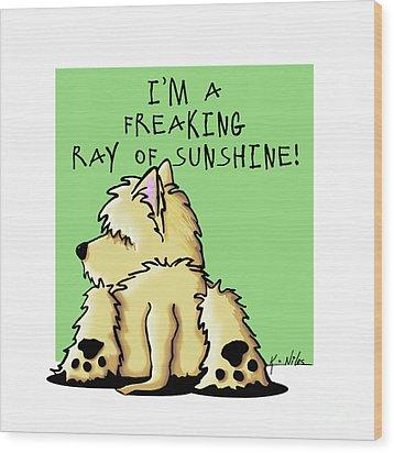 Cairn Terrier Sunshine Wood Print by Kim Niles