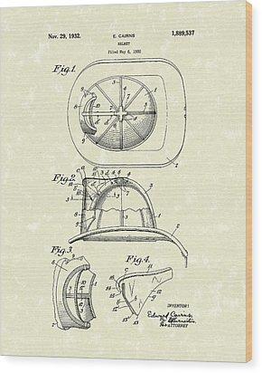 Cairns Helmet 1932 Patent Art Wood Print by Prior Art Design