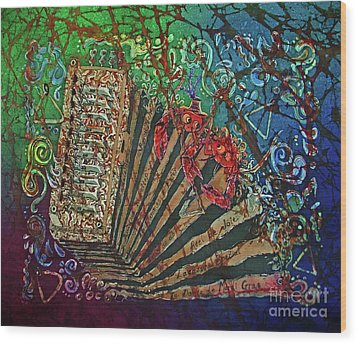 Cajun Accordian Wood Print by Sue Duda