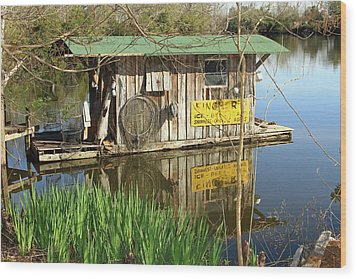 Cajun Houseboat Wood Print by Ronald Olivier