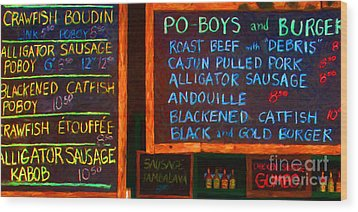 Cajun Menu Alligator Sausage Poboy - 20130119 Wood Print