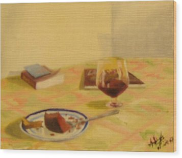 Cake And Wine Wood Print by Anil Singh