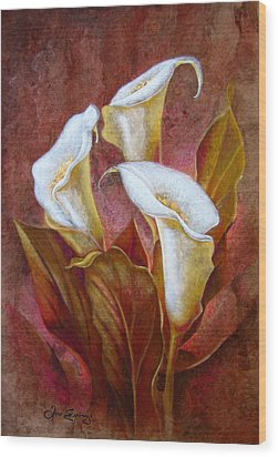 Cala Lillies Bouquet Wood Print by J- J- Espinoza