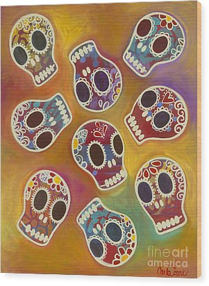 Calaberitas Day Of The Dead Skulls Wood Print by Carla Bank