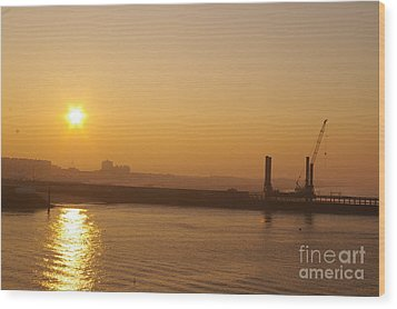 Calais Harbour Wood Print by Catja Pafort