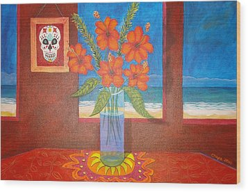 Calavera In Paradise Wood Print