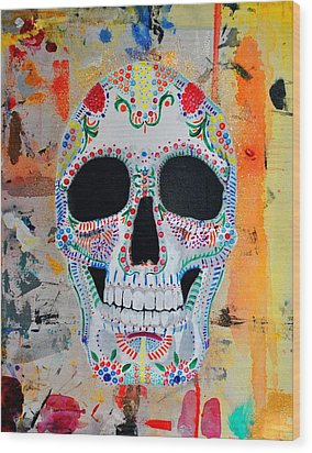 Wood Print featuring the painting Calavera by Josean Rivera
