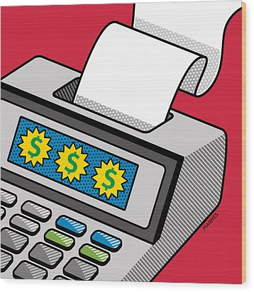 Wood Print featuring the digital art Printing Calculator by Ron Magnes