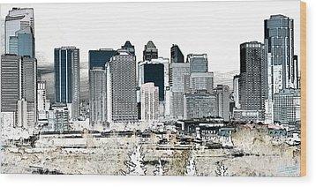 Calgary Skyline 1 Wood Print by Stuart Turnbull