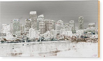 Wood Print featuring the digital art Calgary Skyline 3 by Stuart Turnbull