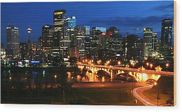 Calgary Skyline At Night Wood Print by Jetson Nguyen