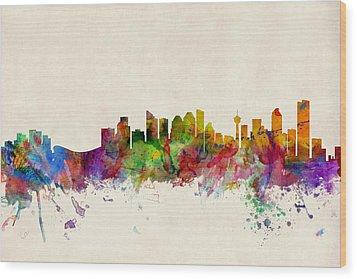Calgary Skyline Wood Print by Michael Tompsett